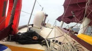 Junk sailing a storm