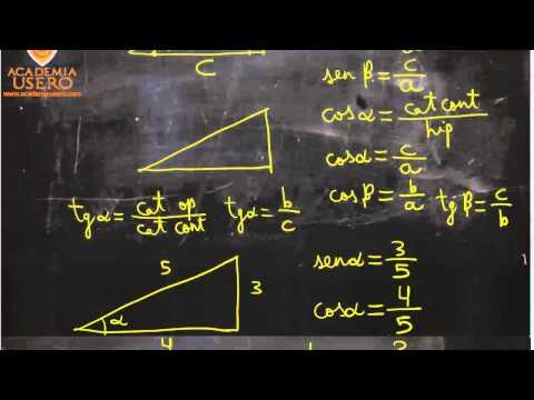 Dadas hipotenusa y ángulo, calcular cateto 04 Matemáticas Acceso CFGS Academia Usero