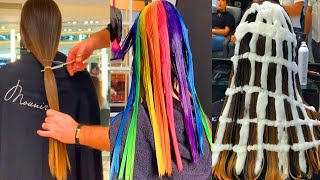 10 Hair Cutting & Hair Color Transformation - Amazing Rainbow Hairstyles for Girls
