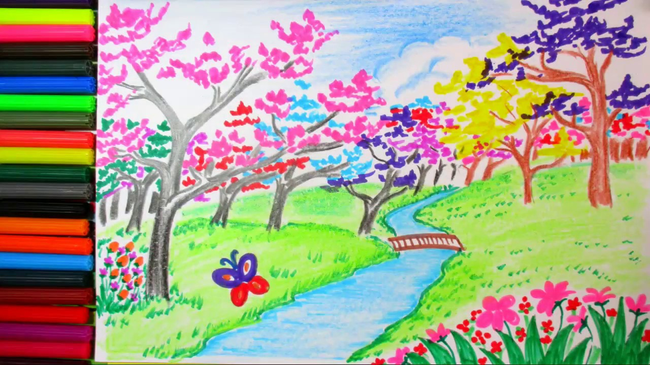 How to Draw Spring Scene And Colorful Blossom Landscape ...