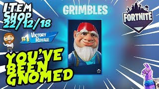 Fortnite Item Shop YOU'VE BEEN GNOMED! *NEW* GNOME SKIN! GAMEPLAY + WIN [December 22nd, 2018]