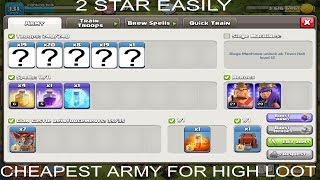 Best and cheap army to get high loot Clashofclan