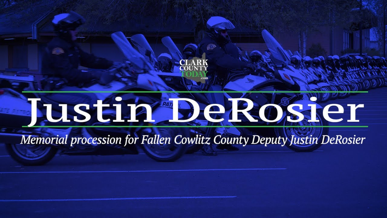 Memorial procession for Fallen Cowlitz County Deputy Justin DeRosier