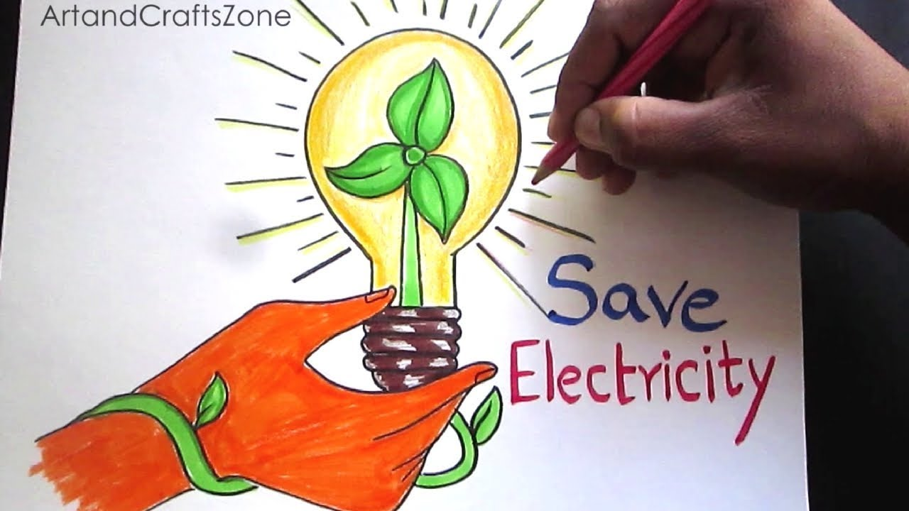 How To Draw Save Electricity Save Energy Drawing For Kids Step
