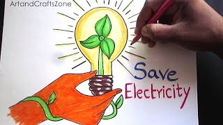 How to Draw Save Electricity | Save Energy Drawing for Kids |  step by step