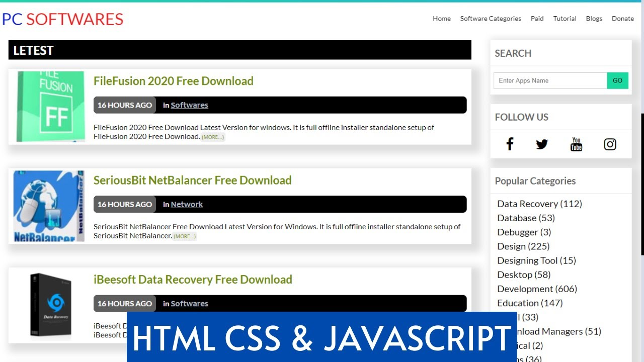 Responsive Software Website Design Using Html Css Javascript With Source Code Youtube