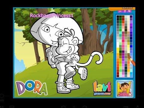 Childrens Dora The Explorer Coloring Book Game For Kids To Color And Paint Picture Sheets Online