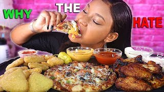 WHY THE HATE!? + CHEESY PIZZA MUKBANG + SPICY BBQ WINGS & MAC N CHEESE BITE | QUEEN BEAST