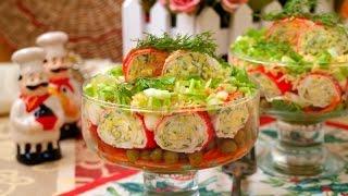 Салат с рулетиками из крабовых палочек и корейской морковью