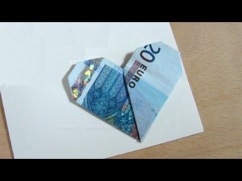 Geldscheine Falten Herz Einfach Geld Falten Hochzeit Geburtstag