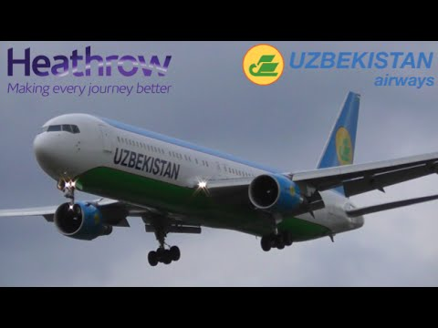 Uzbekistan Airways Boeing 767 Arrival at Heathrow Airport