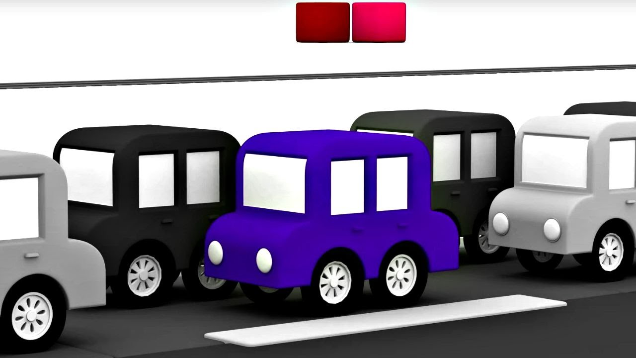 3D музыкальный мультфильм 4 машинки. Песенка про машинки. Пробка.