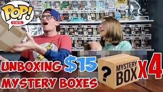 FOUR FUNKO POP MYSTERY BOXES!