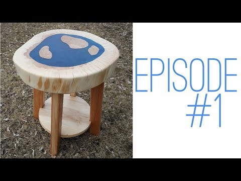 SLAB TABLE with BLUE EPOXY INLAY