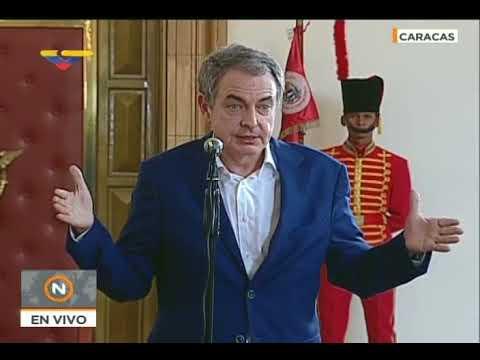 Rodríguez Zapatero declara desde Miraflores tras reunión con Maduro, 18 mayo 2018