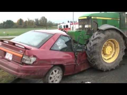 State Farm Report Accident >> Car crushed by tractor in Abbotsford crash - YouTube
