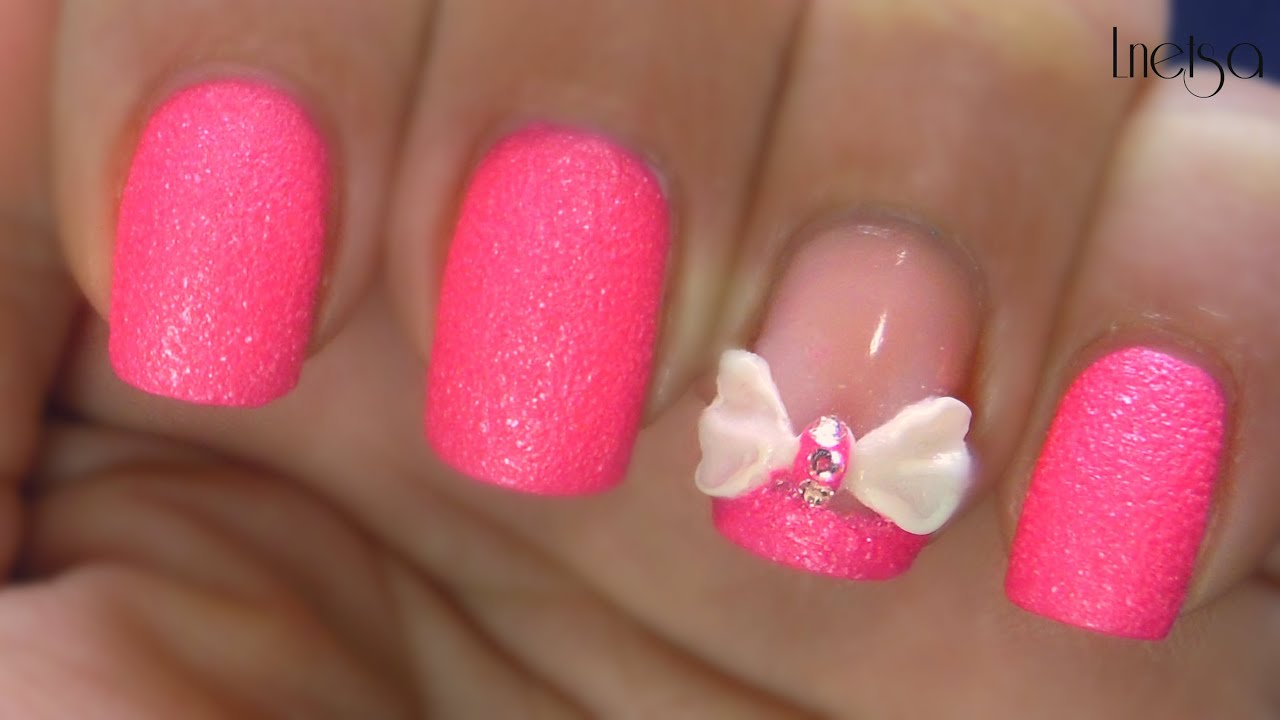 Pink sugar and 3d bow nailart youtube prinsesfo Image collections