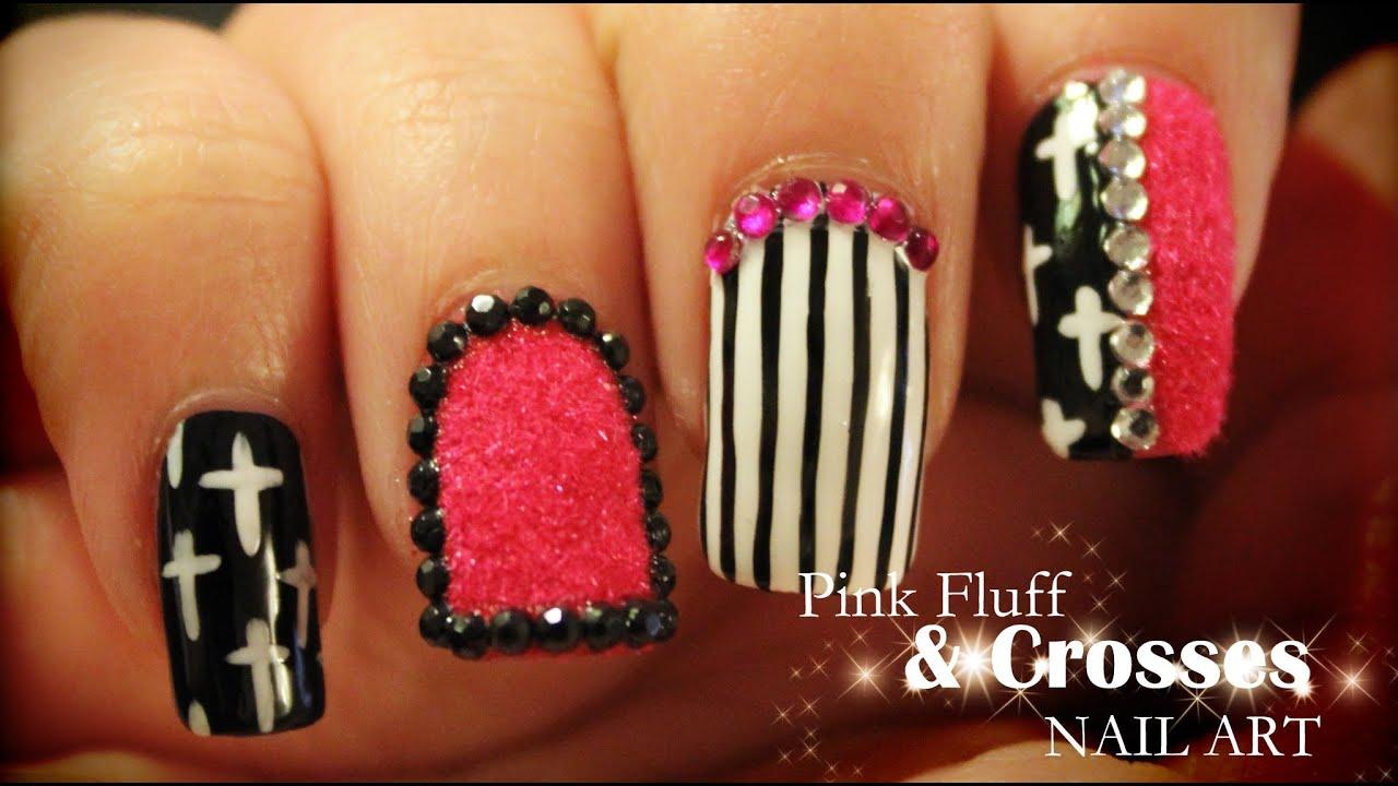 Pink Fluff Crosses Nail Art Youtube