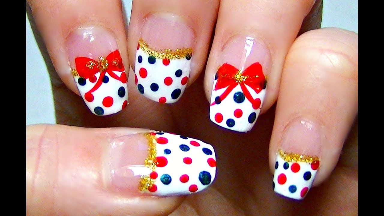 Simple holiday nail art red and green polka dot tutorial youtube prinsesfo Image collections