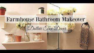 Farmhouse Bathroom Makeover Dollar Tree Decor