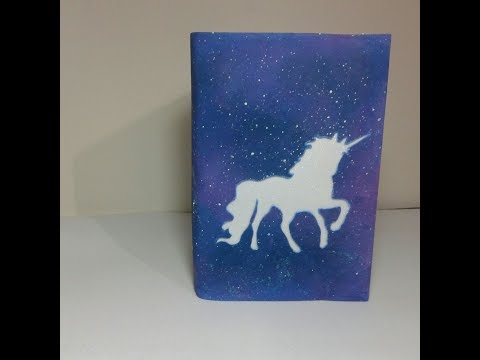 #1 Capa de caderno feita com E.V.A tema Unicornio - Pintura efeito Galaxia