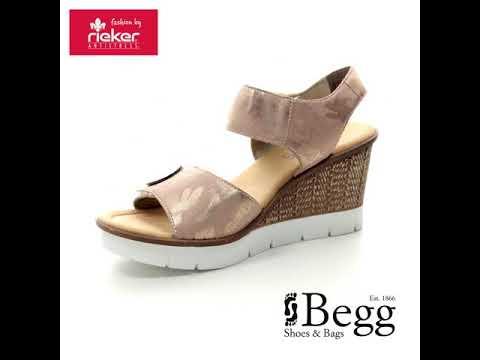 9244a08d8e4a Rieker 65569-31 Rose Wedge Sandals - YouTube