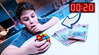 se ele montar o cubo mágico em 20 segundos ele ganha 300 REAIS