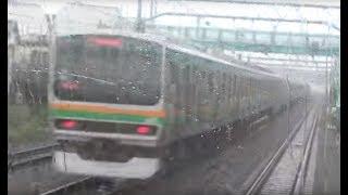 スーパービュー踊り子251系の後方展望(蒲田駅付近の東海道線を走行してE231系とすれ違い) thumbnail