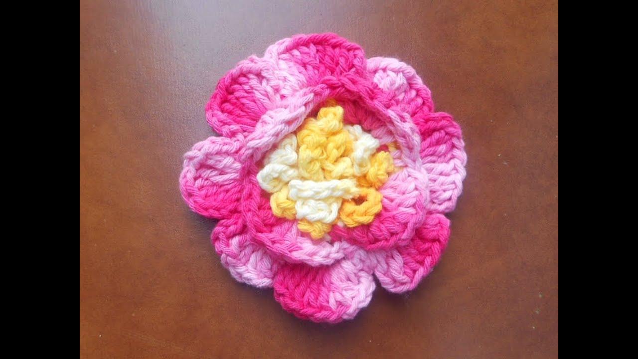 Flor Em Croche Rosa Youtube