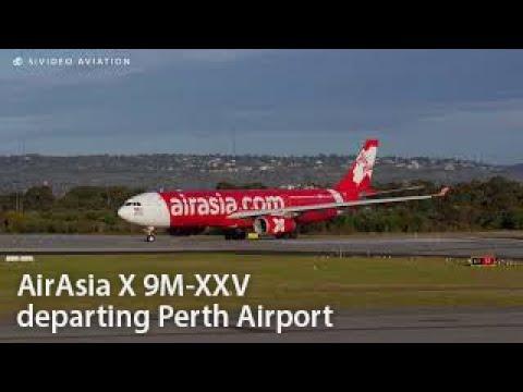 AirAsia X (9M-XXV) departing Perth Airport.