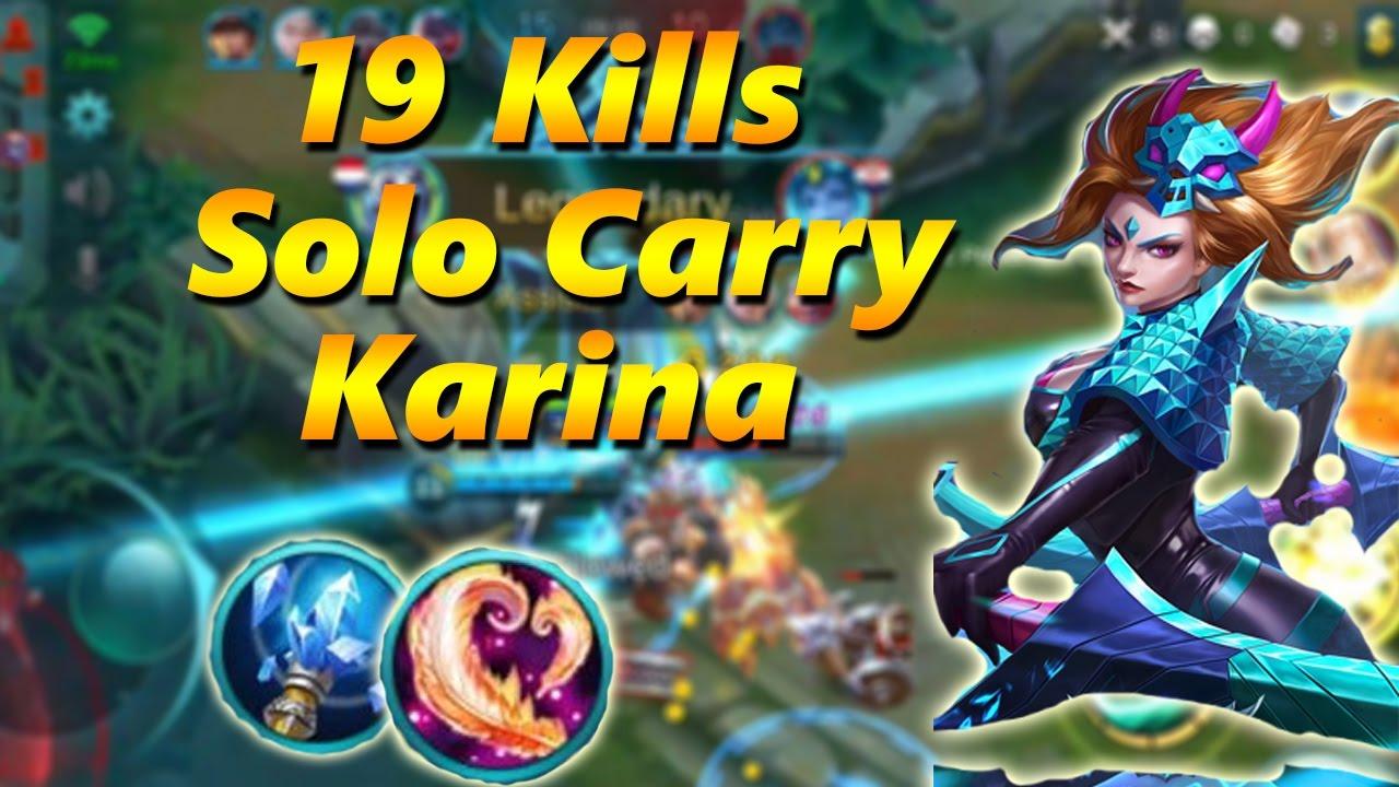 Mobile Legends 19 Kills Solo Carry Karina Close Penta