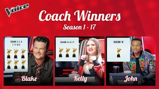 All The Voice Winners Season 1 to 17 with Coaches
