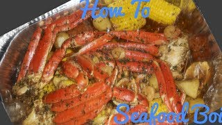 How to make a Seafood boil in a bag!  Crab Legs & Shrimp..Crab boil in a bag