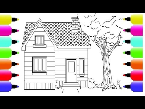 How to Draw a House for Kids and House Coloring Book for Children with Colored 4K