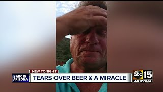 Man stranded in desert with beer, crackers in car