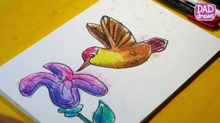 How to draw a Hummingbird / Art for kids