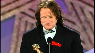 Golden Globes 1992 Robin Williams Wins the Award for Best Actor in a Motion Picture