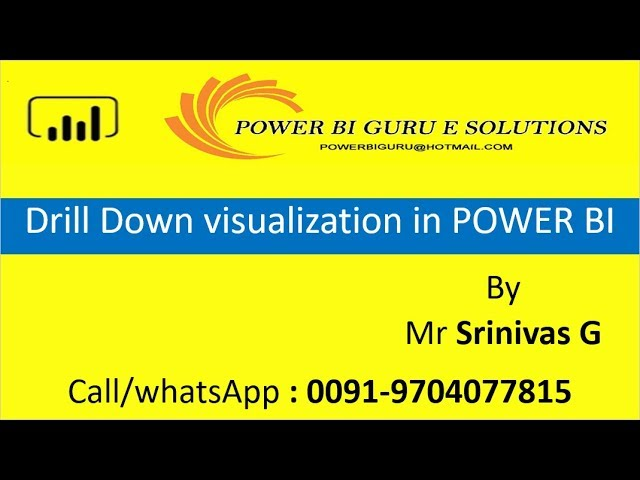Drill Down Visualization in Power Bi | PowerBI Training |Power Bi tutorial | PowerBI Guru