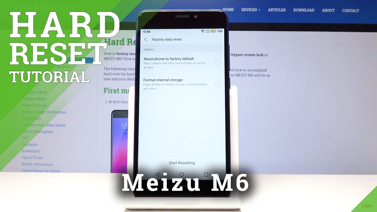 Hard Reset Meizu M6 - Factory Reset Operation by MEIZU Settings