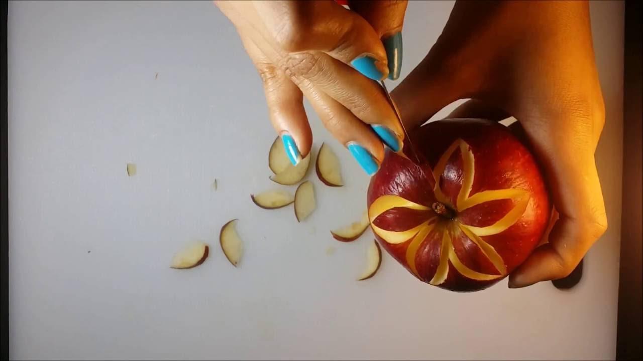 Art In Fruit Carving Apple Flower - Apple Gala Diamond Shapes Design