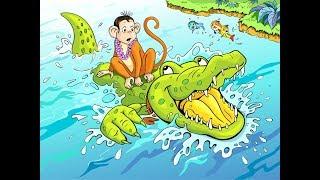 MAIMUȚA ȘI CROCODILUL   Monkey & Crocodile in Romana   Basme in limba romana  Copilul destept