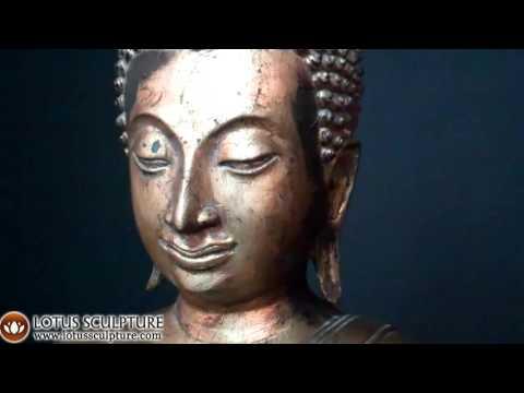 Antique Gold Leaf Sukhothai Thai Buddha Statue www.lotussculpture.com