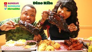 Huge Dino Ribs at Hattie Marie's BBQ in ATL