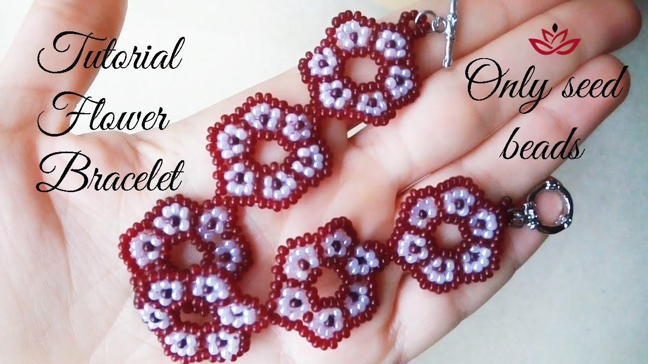 Beaded Flower Bracelet Only Seed Beads Tutorial