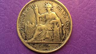 France 1 Piastre French Indochina (Vietnam, Cambodia, Laos) Indochine 1896
