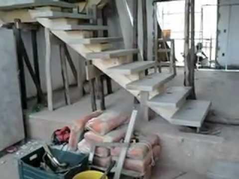 Escadas com viga central fone 19 38451075 youtube for Armar escalera metalica