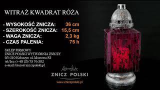 Piękne Znicze Nagrobkowe Szklane I Ceramiczne Wymienne Wkłady Szybka Wysyłka Witraż Kwadrat Róża