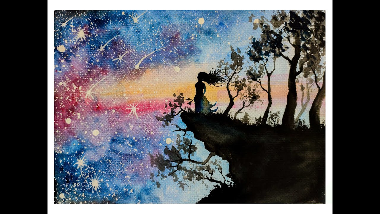 Lonely Girl Standing Alone Watercolour Galaxy Painting
