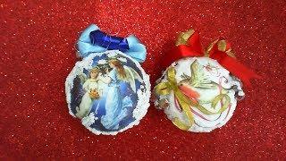 DIY//МК Как сделать объемные новогодние шары своими руками