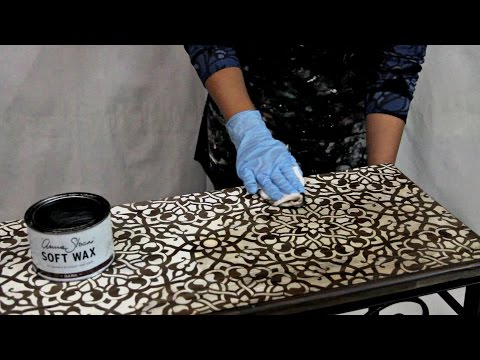 How to Antique Wood Furniture with Stencils & Annie Sloan Dark Wax the DIY Easy Way